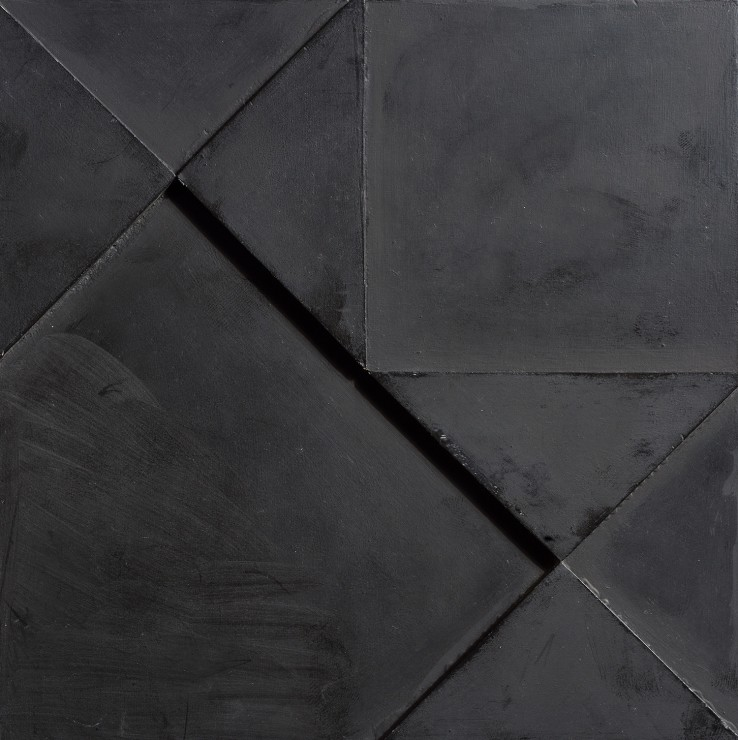 Jean Spencer  Double Sided Black Relief, 1975  Oil on board  15 x 15 cm