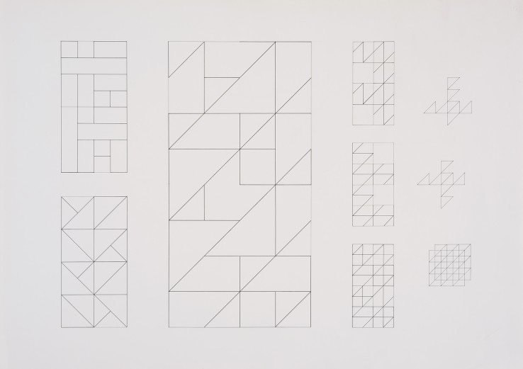 Jean Spencer  Preparatory Study for Systems Grouping, 1975  Ink and gouache on paper  62.5 x 88 cm