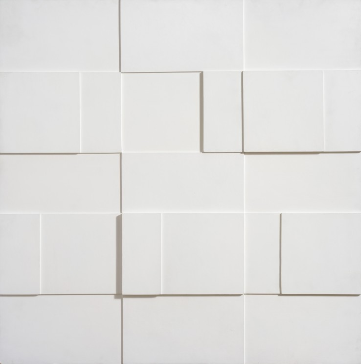 Jean Spencer  White Relief, 1969  Oil on board  91.4 x 91.4 cm