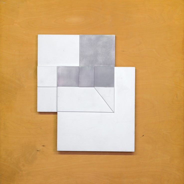 Jean Spencer  Construction October, 1965  Aluminium on plywood  91.5 x 91.5 cm