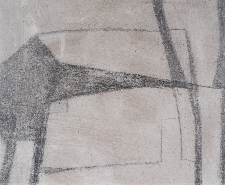 Francis Davison  Cottage, c.1950-51  Oil and pencil on board  25.5 x 32 cm