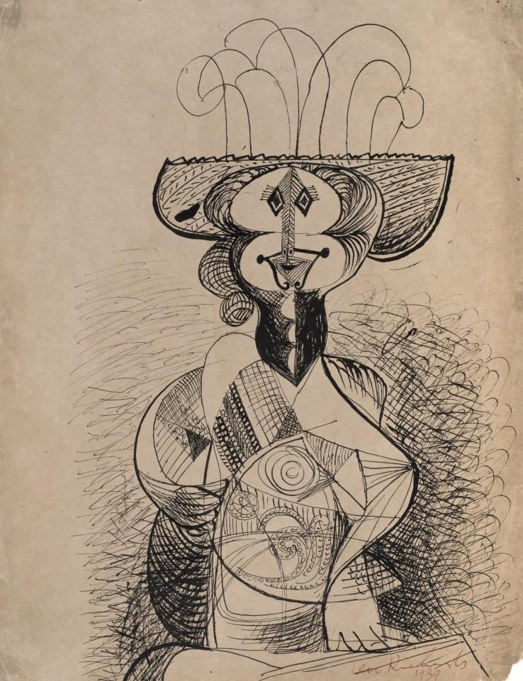 Ceri Richards  Costerwoman, 1939  Ink on paper  38 x 30 cm