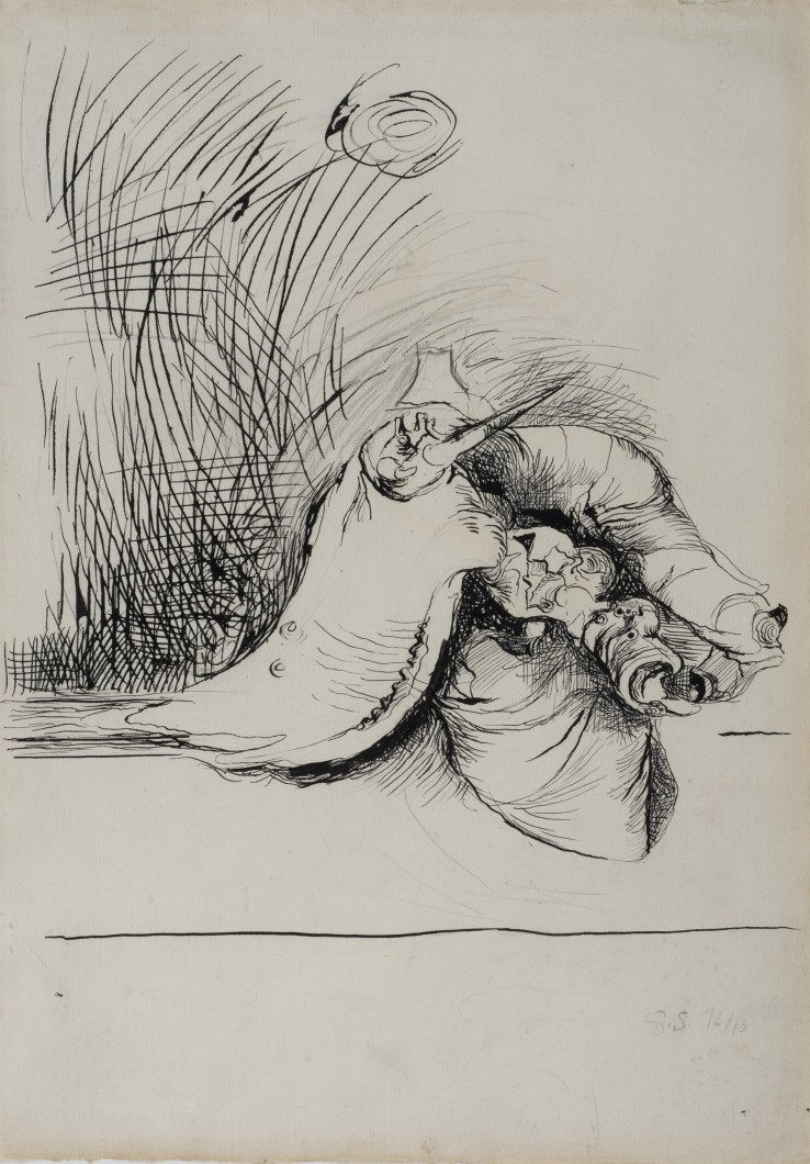 Graham Sutherland  Study for Undulating Form, 1972-73  Ink and pencil on paper  43 x 30.5 cm