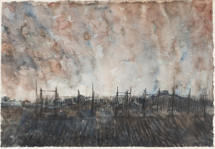 Alan Reynolds  Afternoon, November  Watercolour and ink on paper  24.7 x 36 cm