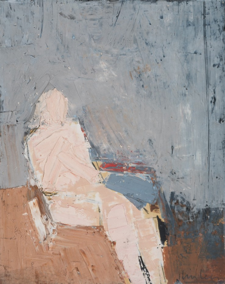 Peter Kinley  Seated Nude  Oil on board  25 x 20 cm