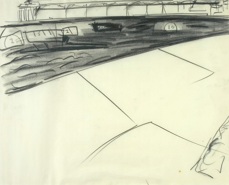 Peter Lanyon  Clevedon Study VI, 1964  Charcoal on paper  39.4 x 49.5 cm
