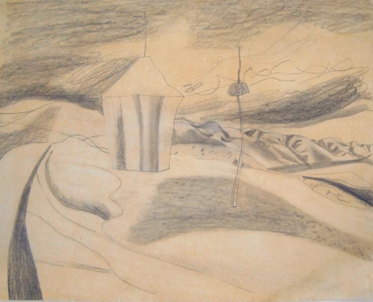 Ben Nicholson  Radicofani, 1955  Pencil on apper  35.6 x 44.5 cm