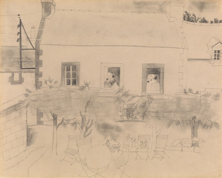 Christopher Wood  House in Brittany, 1929  Pencil on paper  30.4 x 37.7 cm