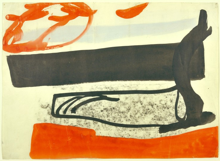 Peter Lanyon  Shore Thing (San Antonio '63), 1963  Charcoal, ink and gouache on paper  25.4 x 35 cm