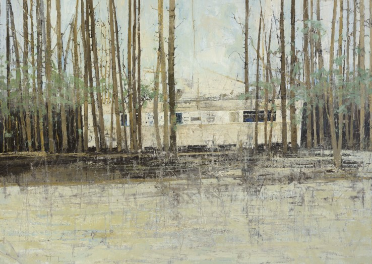 Ffiona Lewis  Wood Cabin, 2015  Oil on board  122.5 x 172 cm