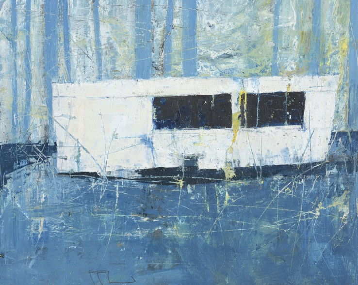 Ffiona Lewis  Atlantic Blue Van, 2015  Oil on board  23 x 28.5 cm