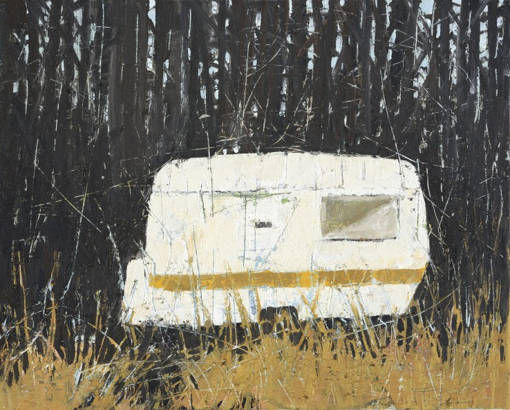Ffiona Lewis  Formica Wood Cabin, 2015  Oil on board  24 x 30 cm