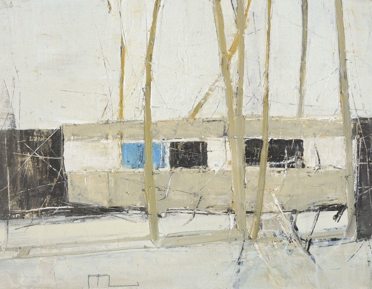 Ffiona Lewis  Concrete Cabin, 2015  Oil on board  24 x 30 cm