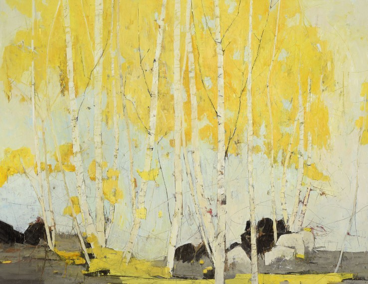 Ffiona Lewis  Golden Birch, 2015  Oil on board  116 x 151 cm