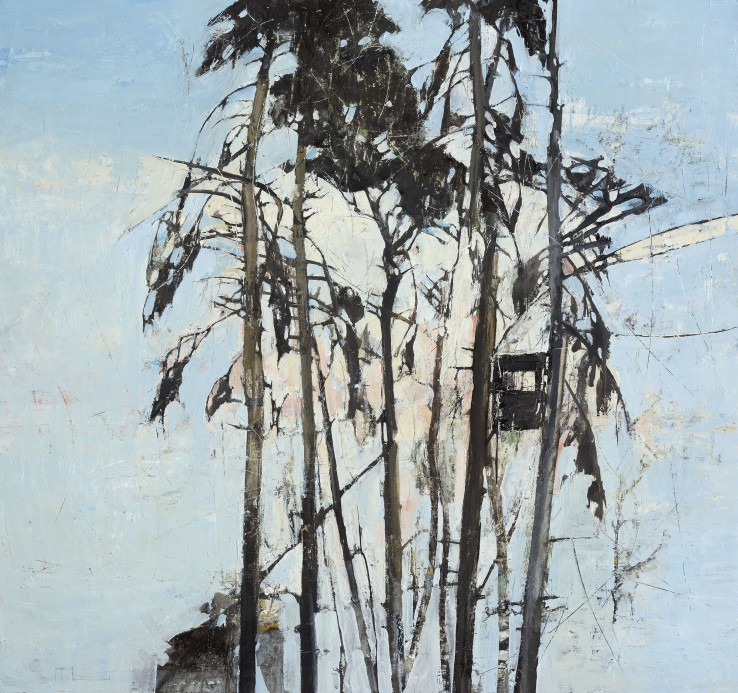 Ffiona Lewis  Bird Hide, 2015  Oil on baord  92.5 x 102.5 cm