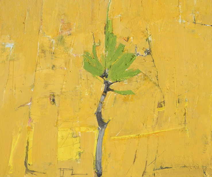Ffiona Lewis  Ochre Pigment, Pine Sapling, 2015  Oil on board  23 x 28 cm