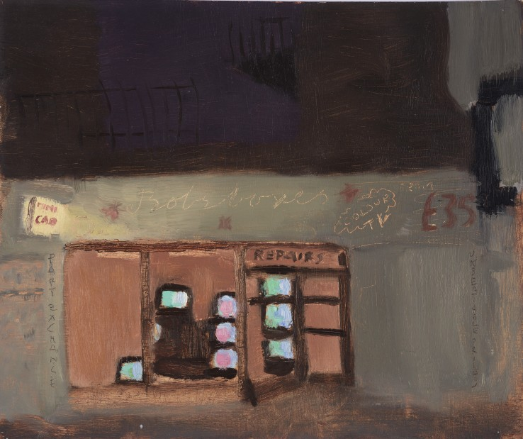 Danny Markey  Bob's Boxes, 1991  Oil on canvas  20 x 24 cm