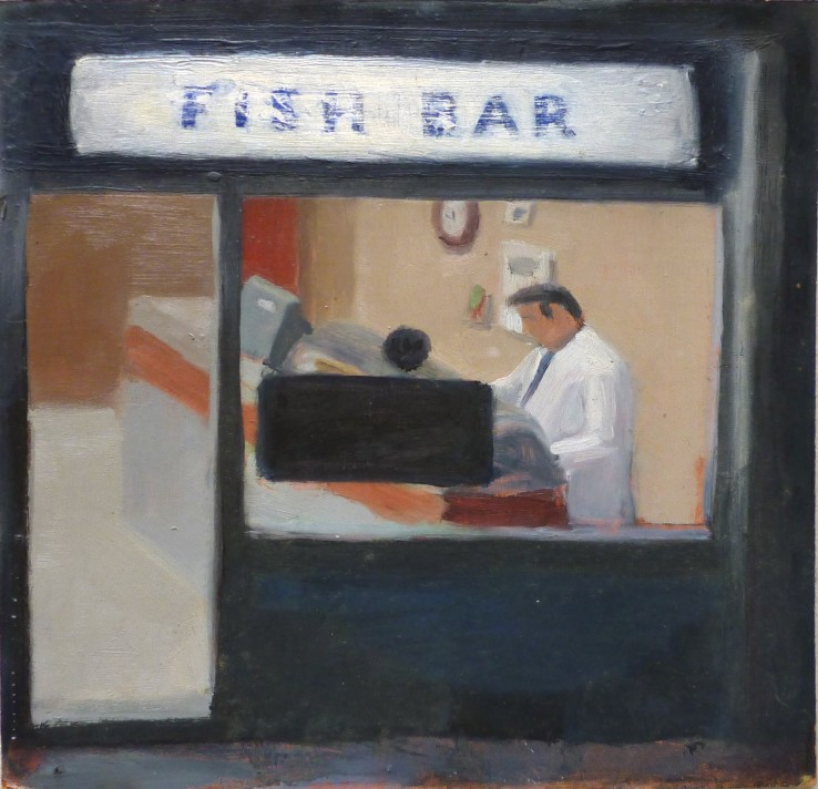 Danny Markey  Fish Bar, 1986  Oil on board  29 x 29.7 cm