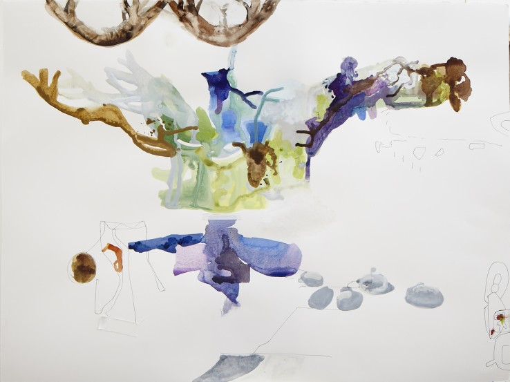 Sarah Armstrong-Jones  Still Life with Curling Stones, 2015  Pen, ink and watercolour on paper  57 x 77 cm