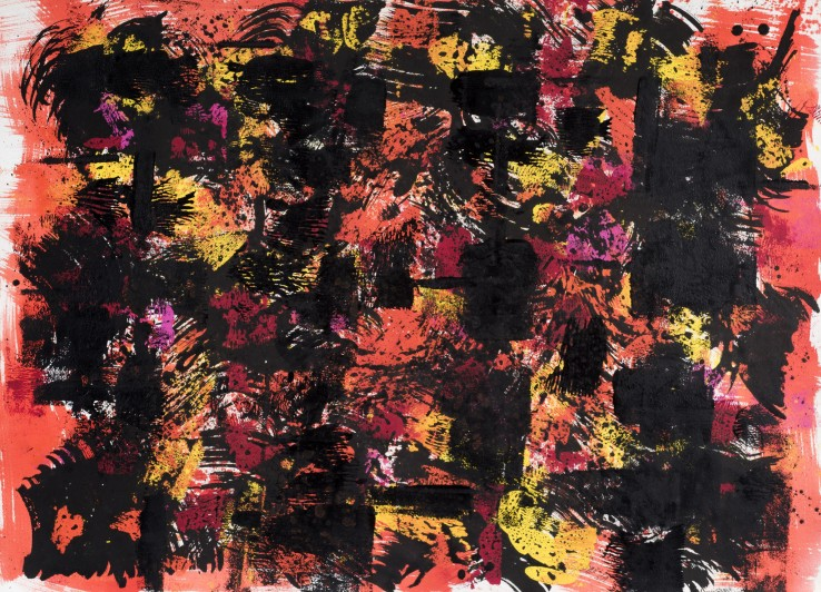 William Gear  Black Figures on Red, 1959  Acrylic and ink on paper  58 x 79 cm