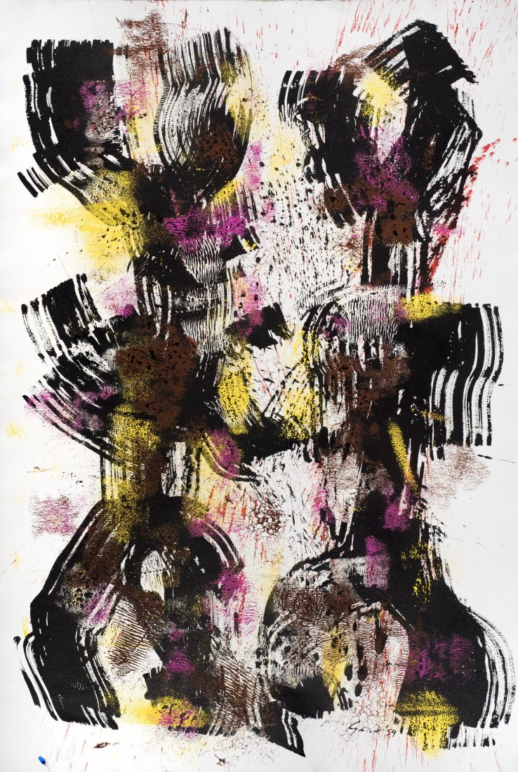 William Gear  Twin Idol, 1959  Acrylic and ink on paper  103 x 29 cm