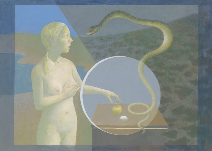David Tindle  Eve Eclipse  Egg tempera on chalk gesso  50 x 70 cm