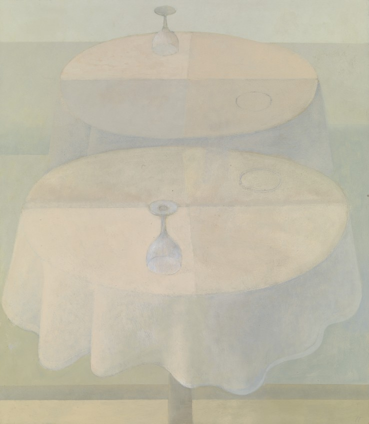 David Tindle  Upturned Glass  Egg tempera  61 x 53 cm