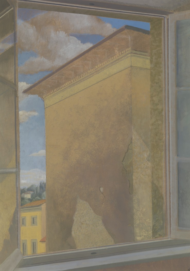David Tindle  Windows, Walls and Clouds  Egg tempera on paper  69 x 48 cm