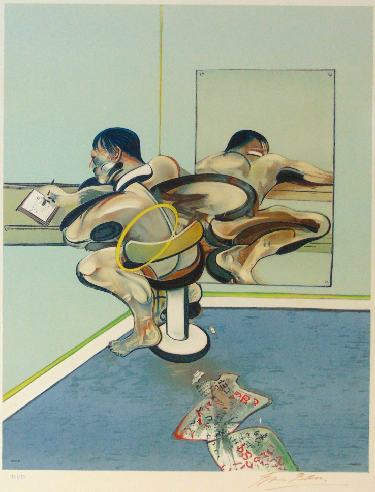 Francis Bacon  Figure Writing Reflected in a Mirror, 1977  Lithograph  104 x 72.5 cm  Signed and numbered.  Printed in colours on Arches paper.