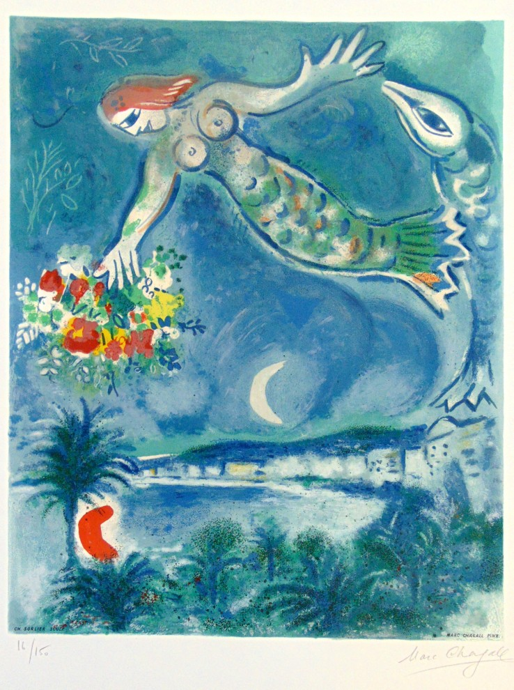 Marc Chagall  Siren and Fish, from: Nice and the Côte d'Azur | Sirène et Poisson, 1964  Lithograph  74 x 52.5 cm  Signed and numbered.  Printed in colours on Arches wove paper.