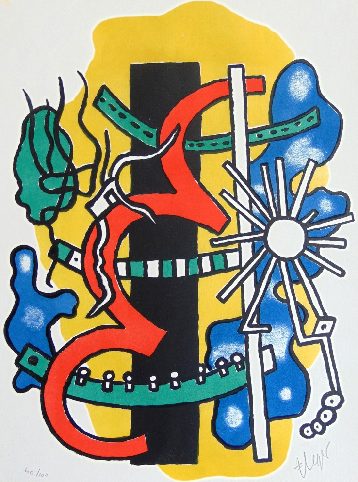 Fernand Léger  Composition, from: Brunidor II, 1947  Lithograph  42 x 32.5 cm  Signed and numbered.  Printed in colours on BFK Rives wove paper.  The work was printed by Desjobert, Paris in a limited edition of 100 impressions in 1947.
