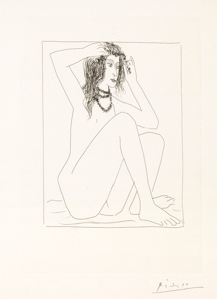 Pablo Picasso  Female Nude Crowning Herself with Flowers / Femme Nue Se Couronnant De Fleurs, from La Suite Vollard, 1930  Etching  44.5 x 34 cm  Signed.  Printed on Montval laid paper with Picasso Watermark.