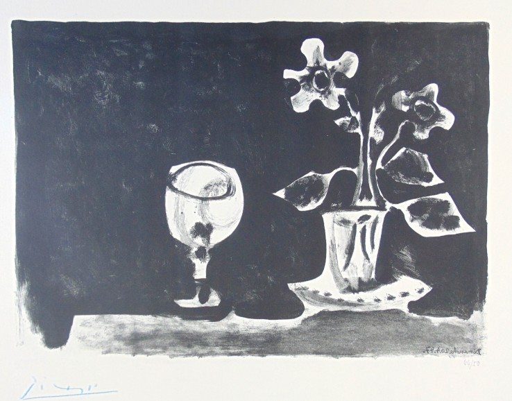 Pablo Picasso  Still Life with Glass and Flowers | Nature Morte au Verre et Fleurs, 1947  Lithograph  50 x 65 cm  Signed and numbered.  Printed on Arches wove paper.