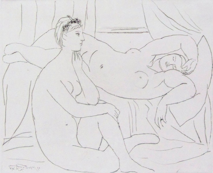 Pablo Picasso  Women Resting | Femmes se Reposant, from: La Suite Vollard, plate 10, 1931  Etching  34.5 x 45 cm  Signed.  Printed on Montval laid paper with Picasso Watermark.