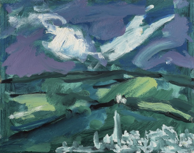Arnold van Praag  Storm over Toldeo (after El Greco), 2004  Oil on board  30 x 38 cm