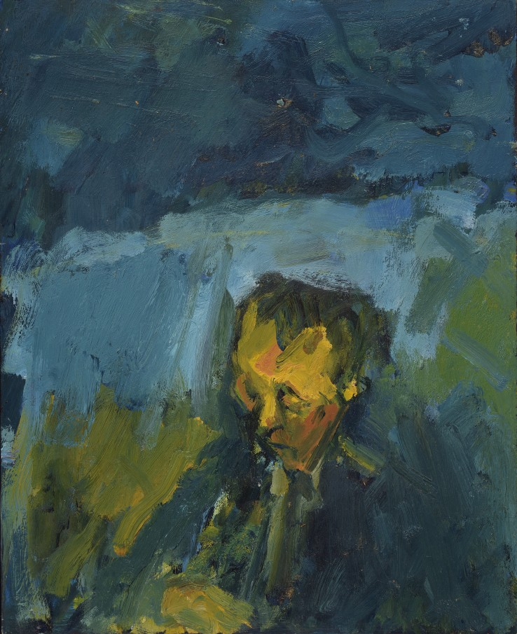 Arnold van Praag  Asleep on the Train, 1981  Oil on board  41 x 33 cm