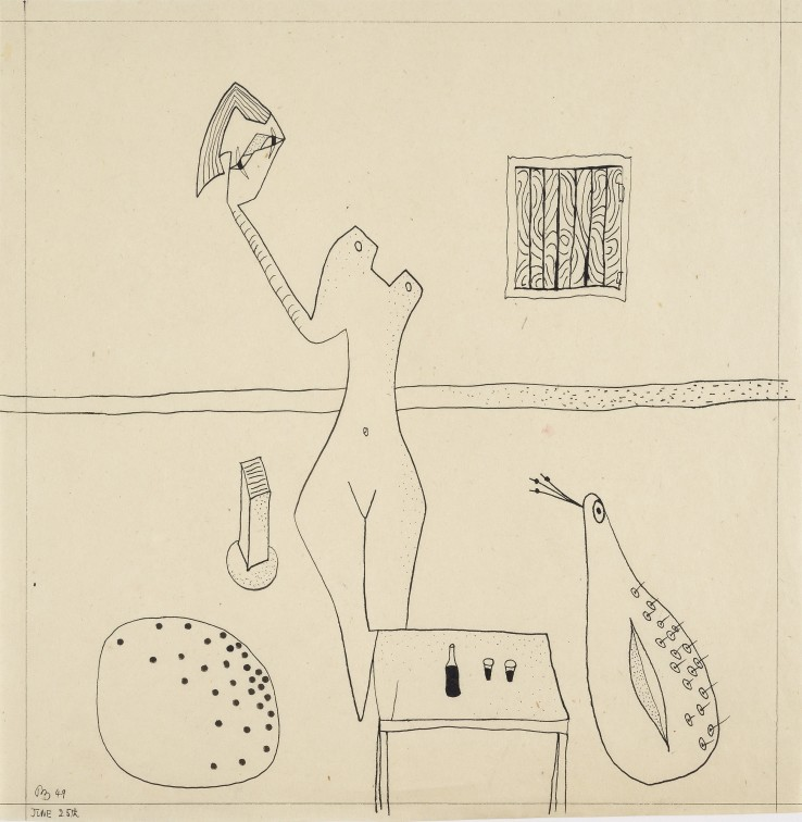 Two Drinks  1949  Ink  27 x 28cm