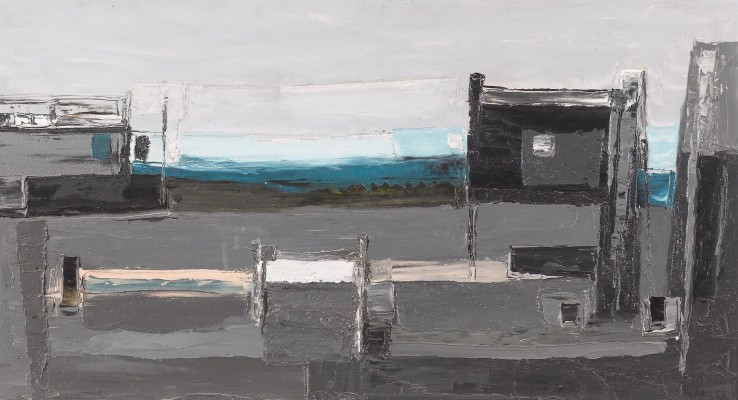 Evening Harbour  1953  Oil on board  50 x 92 cm