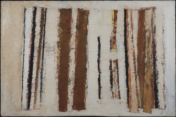White, Sienna & Black  1956  Oil on board  71 x 105 cm  Exhibited: Paul Feiler: One Hundred Years, Jerwood Gallery, Hastings, 2018
