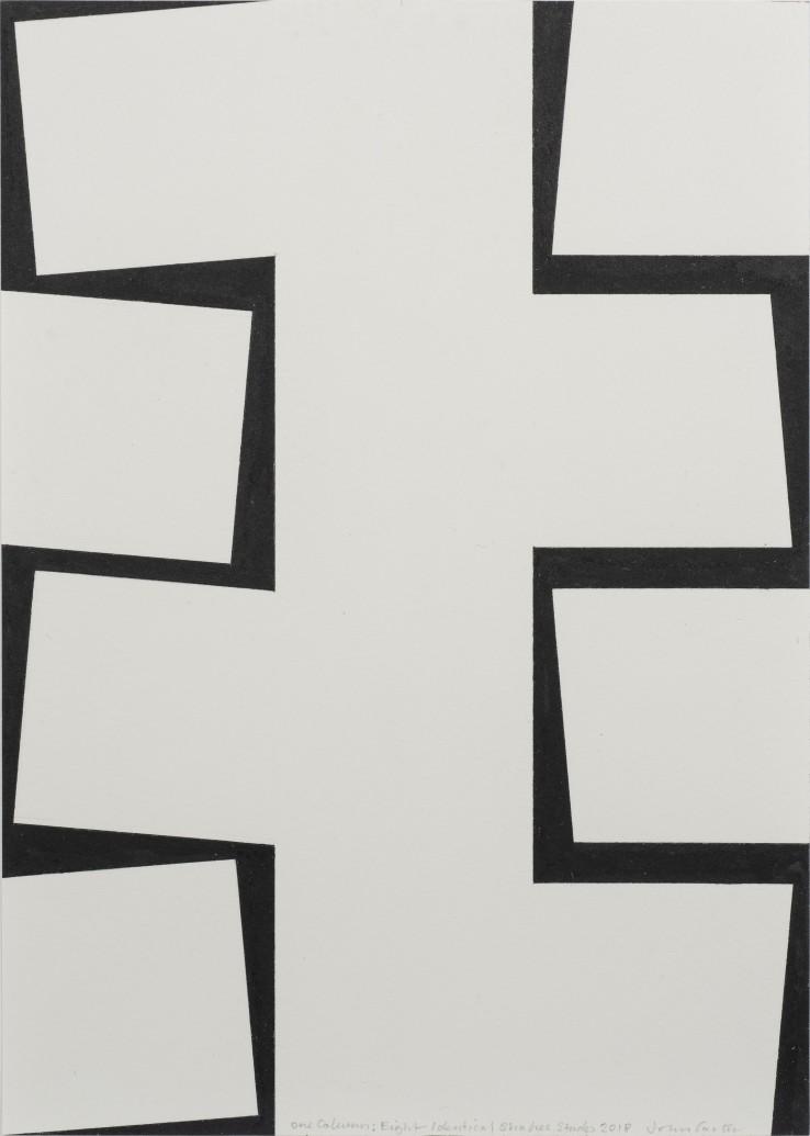 John Carter  One Column: Eight Identical Shapes Study, 2018  Acrylic gouache on paper  22.3 x 15.5 cm