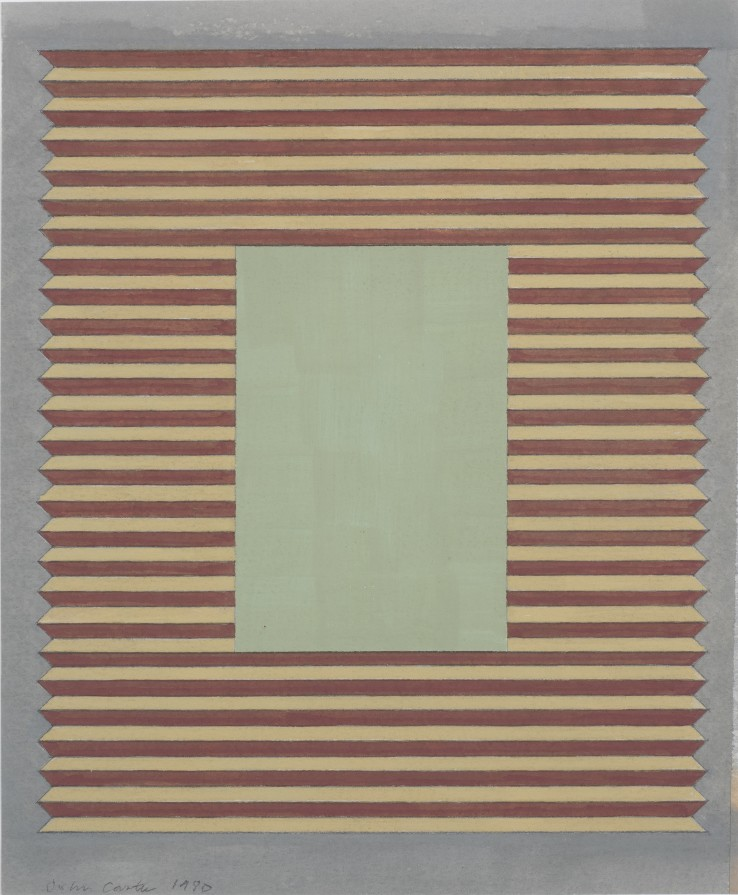 John Carter  Corrugated Surface with Mount, 1980  Watercolour and gouache on paper  27.5 x 23.5 cm