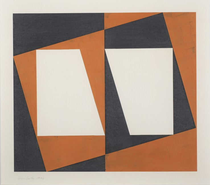 Corner Variant, 1986  Acrylic on paper  44.7 x 51.1 cm  Stephen Bann, John Carter: On paper, Royal Academy of Arts, 2019 (illus. p. 78)