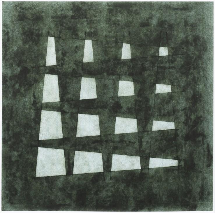 John Carter  Overlaid Elements: Bronze Effect II, 1987  Acrylic gouache on paper  30.3 x 30.7 cm