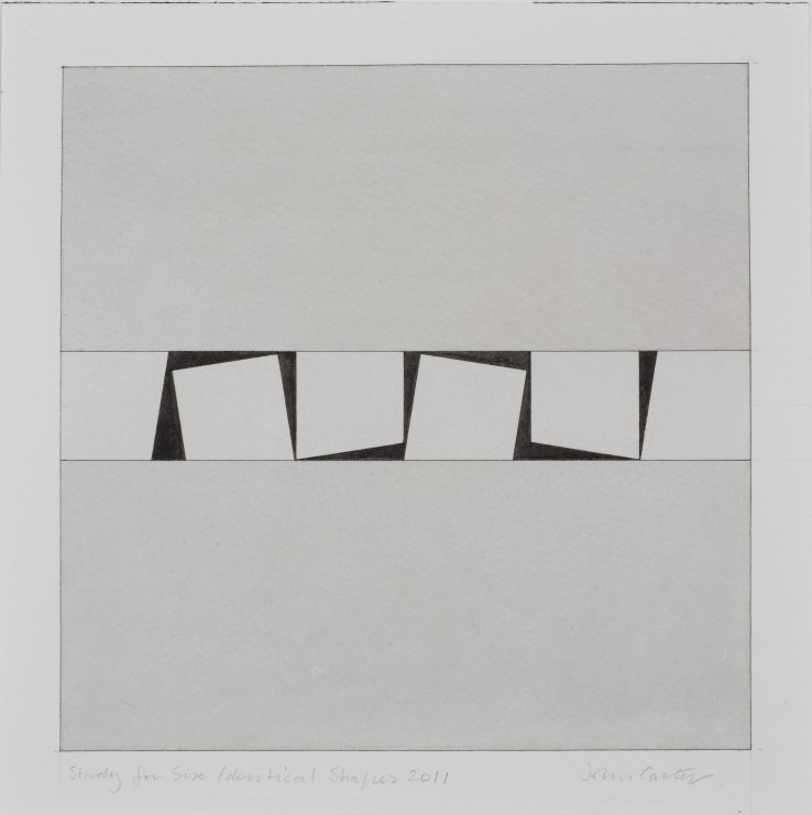 Study for Six Identical Shapes, 2011  Ink and wash on paper  22.5 x 22.5 cm