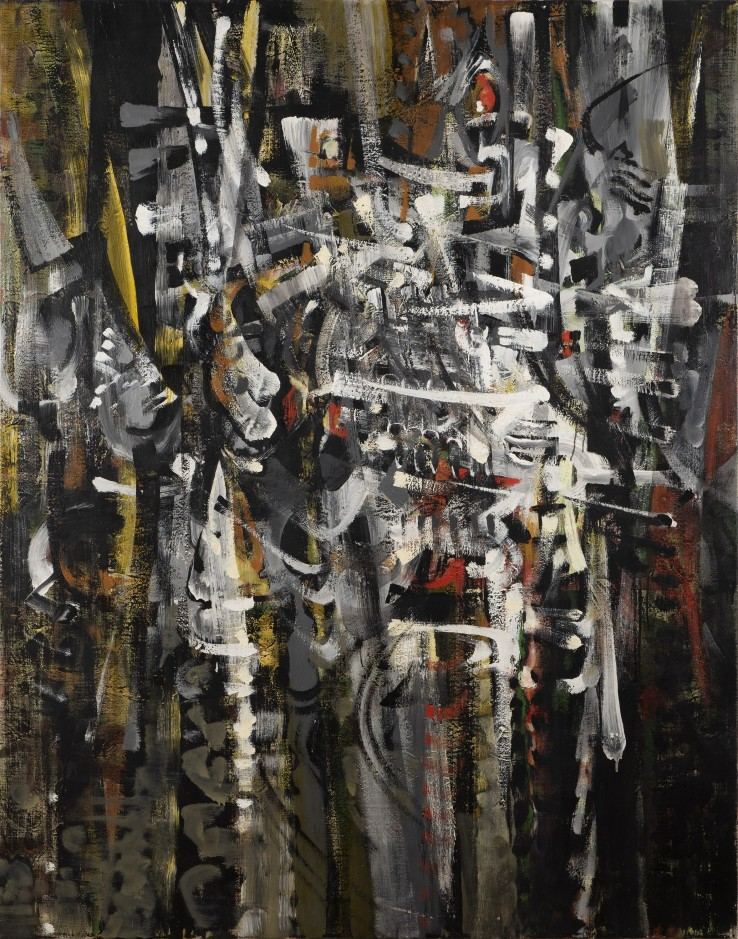 Bryan Wynter  Gust, 1959  Oil on canvas  142 x 112 cm  Exhibited: 6th International Art Exhibition, British Council touring exhibition of Japan, 1961  British Art Today, Dallas Museum for Contemporary Arts, 1963  Young British Painters, North Carolina Museum of Art, 1964  Bryan Wynter: Retrospective, Arts Council of Great Britain touring exhibition of the UK, 1976