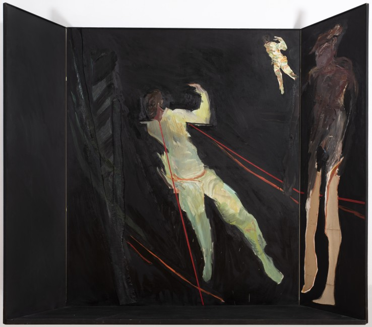 Patrick Procktor RA  The Black Set, 1964  Oil and collage on canvases  190 x 245 cm  Exhibited: The New Generation: 1964, Whitechapel Gallery, London, 1964