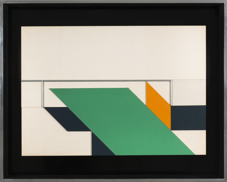 John Carter RA  Parallelogram with Bar, 1972  Mixed media and collage on board  67 x 87 cm