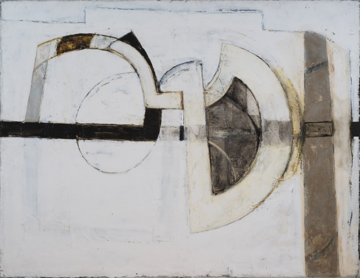 Paul Feiler  Intersecting Forms, Grey, 1966  Oil on canvas laid on wood  102 x 132 cm  Exhibited: Paul Feiler: The Near and The Far, Tate St Ives, 2005  Paul Feiler: One Hundred Years, Jerwood Gallery, Hastings, 2018