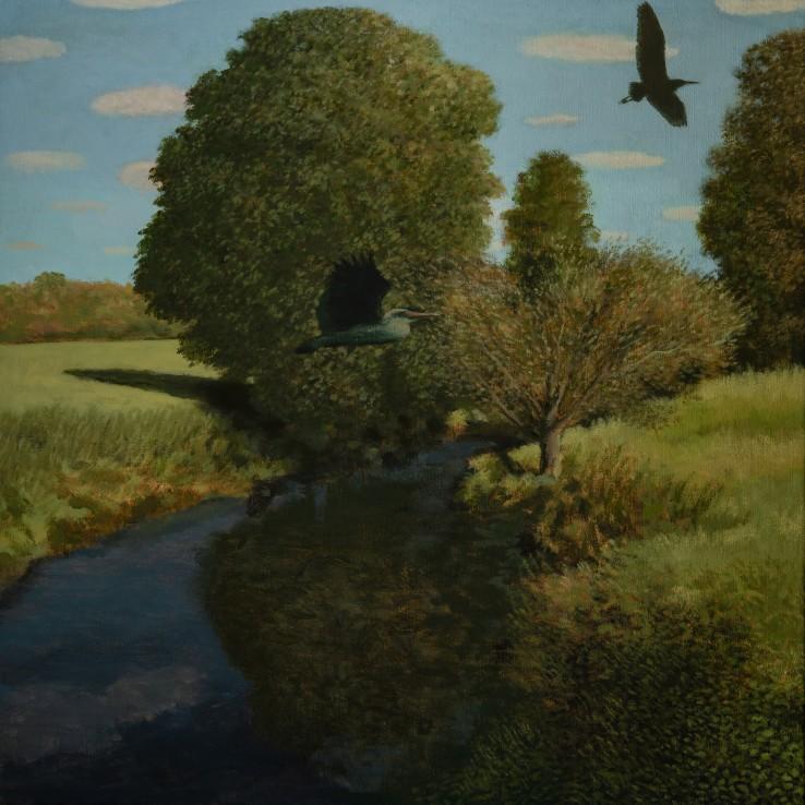 River Avon, Lacock, 2015  Oil on canvas  61 x 61 cm