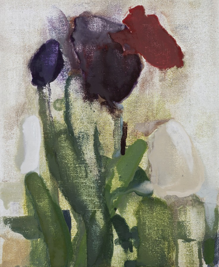 Tulips, Late Spring, 2019  Oil on canvas  25.5 x 20 cm